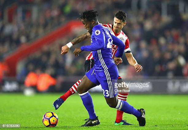 Jose Fonte of Southampton tackles Michy Batshuayi of Chelsea during the Premier League match between Southampton and Chelsea at St Mary's Stadium on...