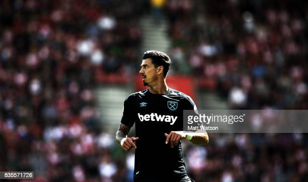 Jose Fonte of West Ham during the Premier League match between Southampton and West Ham United at St Mary's Stadium on August 19, 2017 in...