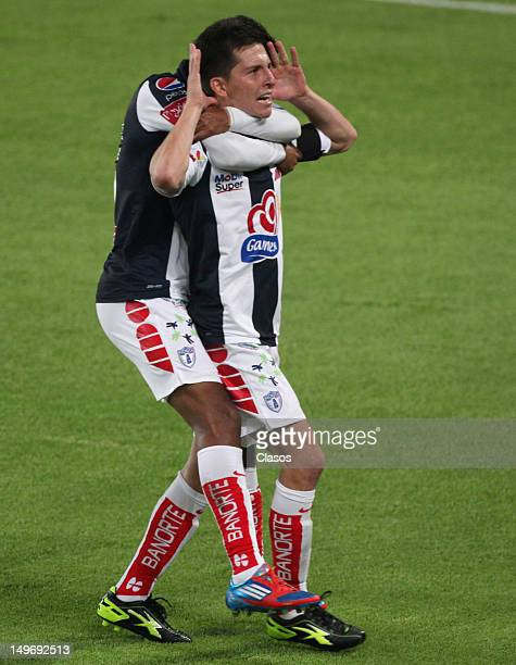 Jose Francisco Torres of Pachuca celebrates a goal during a match between Pachuca and Leones Negros as part of the Copa MX 2012 at Hidalgo Stadium on...