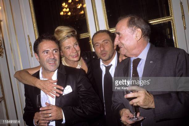 Jose Garcia Frigide Barjot Patrick Timsit and Claude Brasseur attend the Chateau Angelus Dinner Party at the Hotel Crillon on October 12007 In Paris...