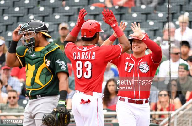Jose Garcia of the Cincinnati Reds celebrates with Josh VanMeter after hitting a two run home run against the Oakland Athletics during the second...