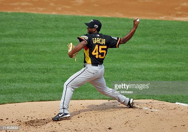 Jose Garcia of the World Team pitches against the U.S.A. Team during the XM Satellite Radio All-Star Futures Game at PNC Park on July 9, 2006 in...