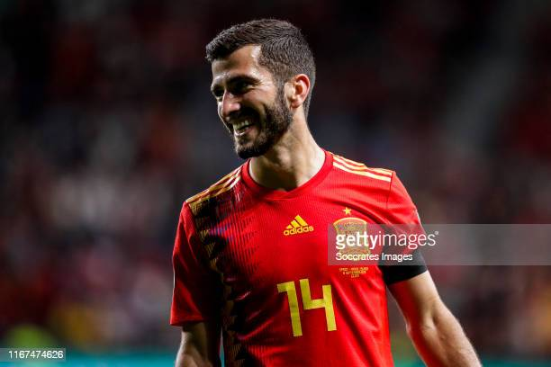 Jose Gaya of Spain celebrates goal 4-0 during the EURO Qualifier match between Spain v Faroe Islands at the El Molinon on September 8, 2019 in Gijon...
