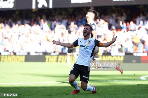 Jose Gaya of Valencia CF celebrates after scoring his team's second goal during the La Liga Santander match between Valencia CF and RCD Mallorca at...