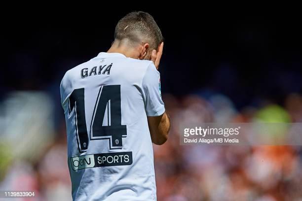 Jose Gaya of Valencia CF reacts during the La Liga match between Valencia CF and SD Eibar at Estadio Mestalla on April 28 2019 in Valencia Spain
