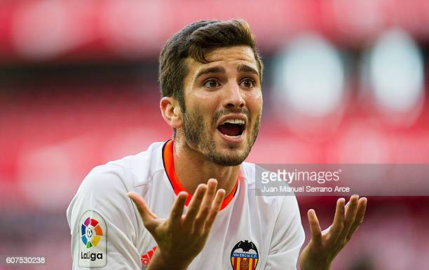 Jose Gaya of Valencia CF reacts during the La Liga match between Athletic Club Bilbao and Valencia CF at San Mames Stadium on September 18 2016 in...