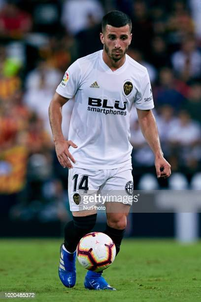 Jose Gaya of Valencia CF with the ball during the La Liga match between Valencia CF and Club Atletico de Madrid at Mestalla on August 20 2018 in...