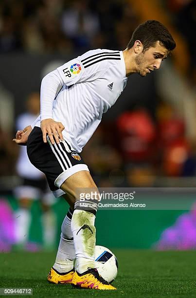 Jose Gaya of Valencia in action during the Copa del Rey Semi Final second leg match between Valencia CF and FC Barcelona at Estadio Mestalla on...