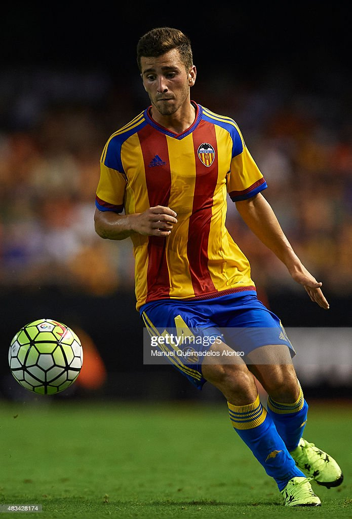 Jose Gaya of Valencia in action during the pre-season friendly match between Valencia CF and AS Roma at Estadio Mestalla on August 8, 2015 in Valencia, Spain.