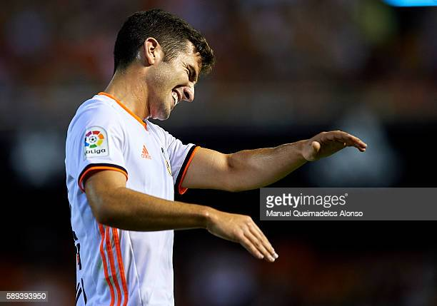 Jose Gaya of Valencia reacts during the preseason friendly match between Valencia CF and AC Fiorentina at Estadio Mestalla on August 13 2016 in...