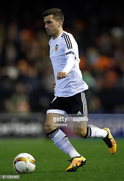 Jose Gaya of Valencia runs with the ball during the UEFA Europa League round of 32 first leg match between Valencia CF and Rapid Vienna at Estadi de...