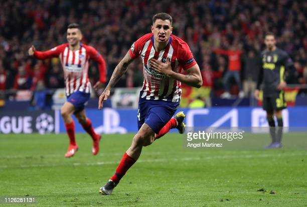 Jose Gimenez of Atletico Madrid celebrates after scoring his team's first goal during the UEFA Champions League Round of 16 First Leg match between...