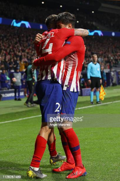 Jose Gimenez of Atletico Madrid celebrates after scoring his team's first goal with Alvaro Morata of Atletico Madrid during the UEFA Champions League...