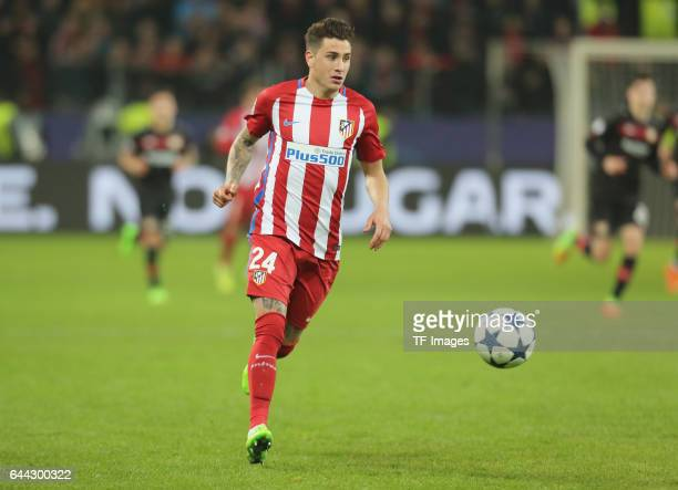 Jose Gimenez of Atletico Madrid controls the ball during the UEFA Champions League Round of 16 first leg match between Bayer Leverkusen and Club...