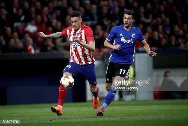 Jose Gimenez of Atletico Madrid in action against Andrija Pavlovic of FC Copenhagen during the UEFA Europa League Round of 32 second leg soccer match...