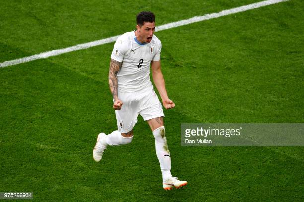 Jose Gimenez of Uruguay celebrates after scoring his team's first goal during the 2018 FIFA World Cup Russia group A match between Egypt and Uruguay...