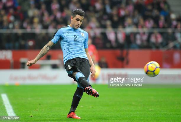 Jose Gimenez of Uruguay during the international friendly match between Poland and Uruguay at National Stadium on November 10 2017 in Warsaw Poland