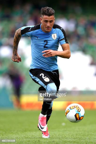 Jose Gimenez of Uruguay in action during the International Friendly match between Republic of Ireland and Uruguay at Aviva Stadium on June 4 2017 in...