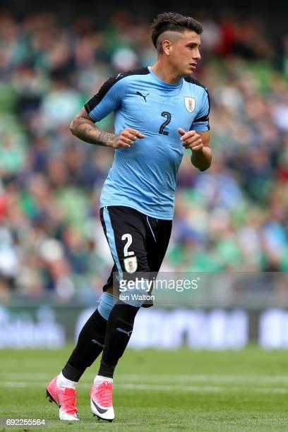 Jose Gimenez of Uruguay in action during the International Friendly match between Republic of Ireland and Uruguay at Aviva Stadium on June 4 2017 in...
