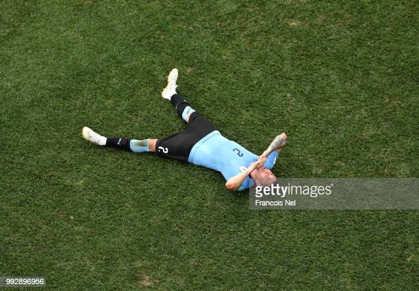 Jose Gimenez of Uruguay looks dejected following his sides defeat in the 2018 FIFA World Cup Russia Quarter Final match between Uruguay and France at...