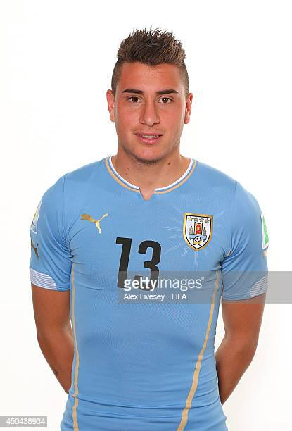 Jose Gimenez of Uruguay poses during the official FIFA World Cup 2014 portrait session on June 10 2014 in Belo Horizonte Brazil
