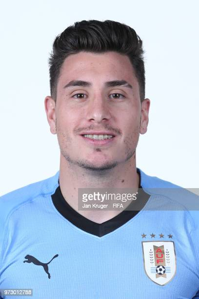 Jose Gimenez of Uruguay poses for a portrait during the official FIFA World Cup 2018 portrait session at Borsky Sport Centre on June 12 2018 in...