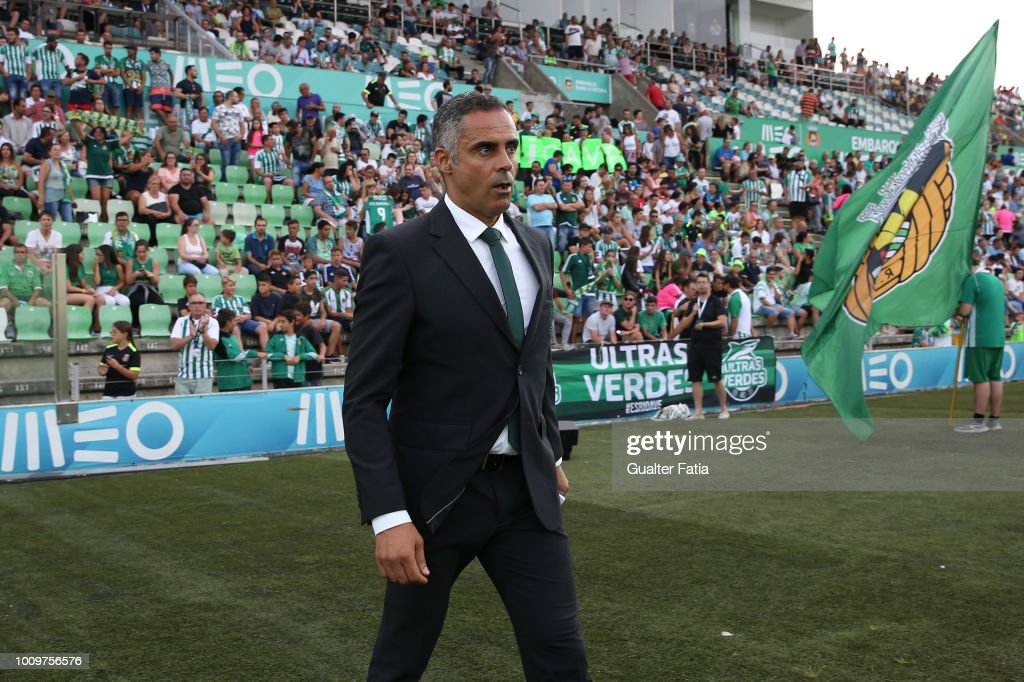 Jose Gomes from Rio Ave FC before the start of the UEFA Europa League Second Qualifying Round 2nd Leg match between Rio Ave FC and Jagiellonia at Estadio dos Arcos on August 2, 2018 in Vila do Conde, Portugal.
