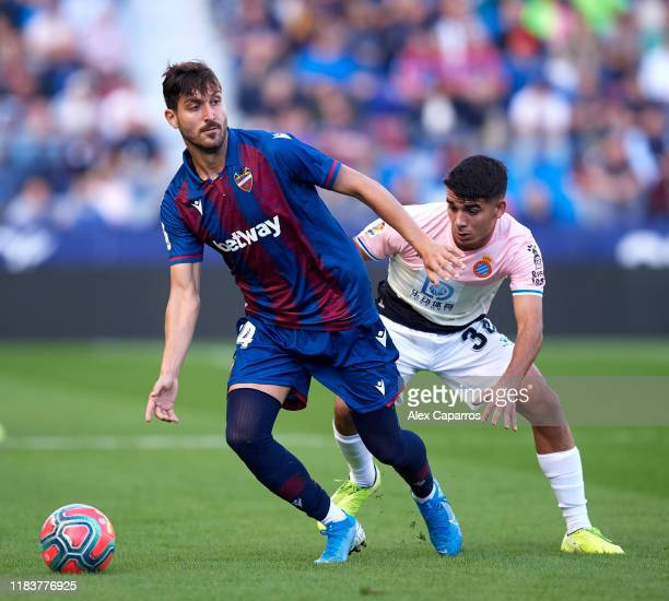 Jose Gomez Campaña of Levante UD controls the ball under pressure from Victor Gomez of RCD Espanyol during the La Liga match between Levante UD and...