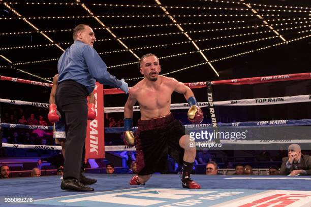 Jose Gonzalez defeats Adan Gonzalez in their Super Bantamweight fight at The Hulu Theatre at Madison Square Garden on March 17 2018 in New York City