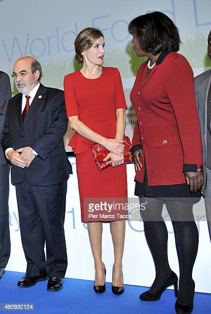 Jose Graziano da Silva Director General of FAO Queen Letizia of Spain and Ertharin Cousin Executive Director World Food Programme attend the World...