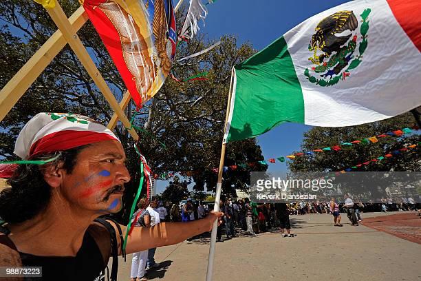 Jose Gregorio Perez attends Cinco de Mayo festivities on May 5 at El Pueblo de Los Angeles Historic Site on Olvera Street in downtown Los Angeles...