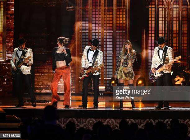 Jose Guadalupe Esparza and his group Bronco perform with Ashley Grace Perez Mosa and Hanna Nicole Perez Mosa of HaAsh onstage at the 18th Annual...