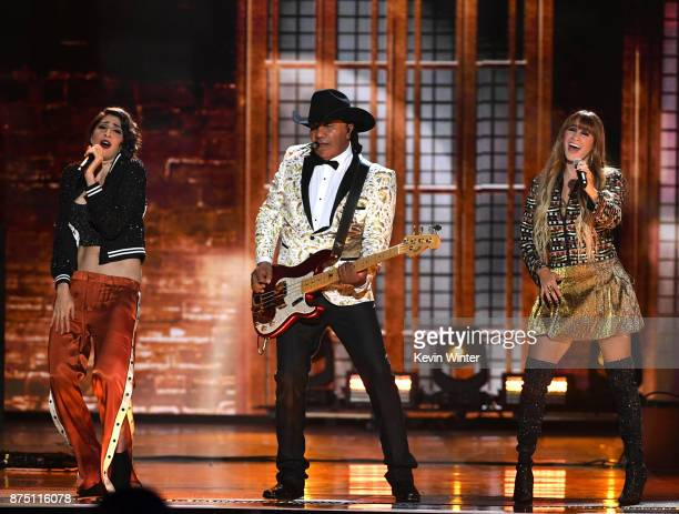 Jose Guadalupe Esparza of Bronco performs with Ashley Grace Perez Mosa and Hanna Nicole Perez Mosa of HaAsh onstage at the 18th Annual Latin Grammy...