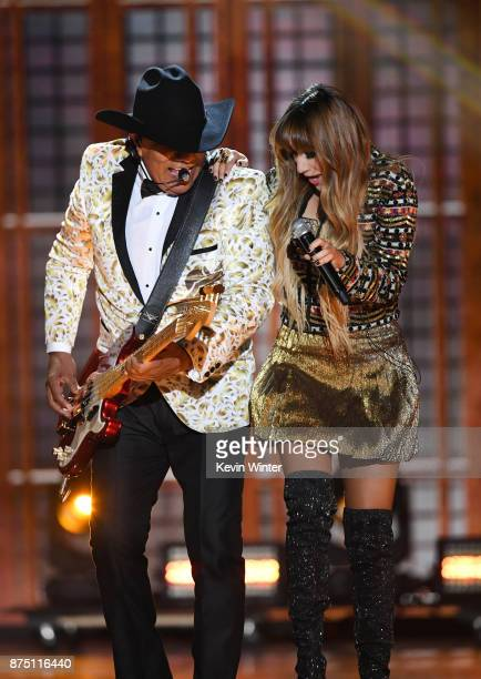 Jose Guadalupe Esparza of Bronco performs with Hanna Nicole Perez Mosa of HaAsh onstage at the 18th Annual Latin Grammy Awards at MGM Grand Garden...