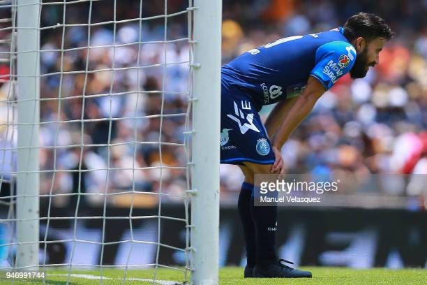 Jose Guerrero of Puebla reacts after a goal of Pumas during the 15th round match between Pumas UNAM and Puebla as part of the Torneo Clausura 2018...