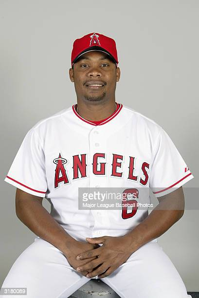 Jose Guillen of the Anaheim Angels poses for a portrait on February 26 2004 in Tempe Arizona