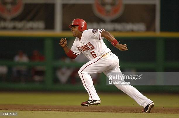 Jose Guillen of the Washington Nationals runs to second base during a baseball game against the San Diego Padres on July 7 2006 at RFK Stadium in...