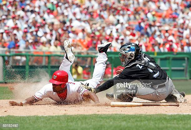 Jose Guillen of the Washinton Nationals slides safely into home as catcher Gregg Zaun of the Toronto Blue Jays applies the tag during the third...