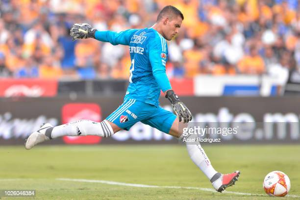 Jose Hernandez goalkeeper of Atlas kicks the ball during the 6th round match between Tigres UANL and Veracruz as part of the Torneo Apertura 2018...