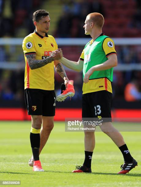 Jose Holebas and Ben Watson of Watford after the Premier League match between Watford and Manchester City at Vicarage Road on May 21 2017 in Watford...