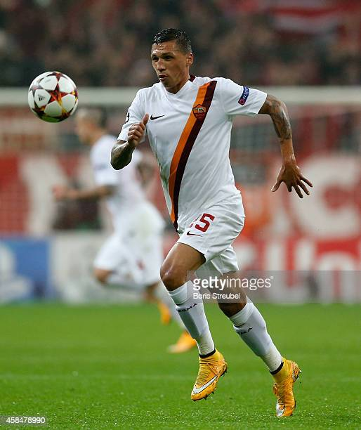 Jose Holebas of AS Roma runs with the ball during the UEFA Champions League Group E match between FC Bayern Munchen and AS Roma at Allianz Arena on...