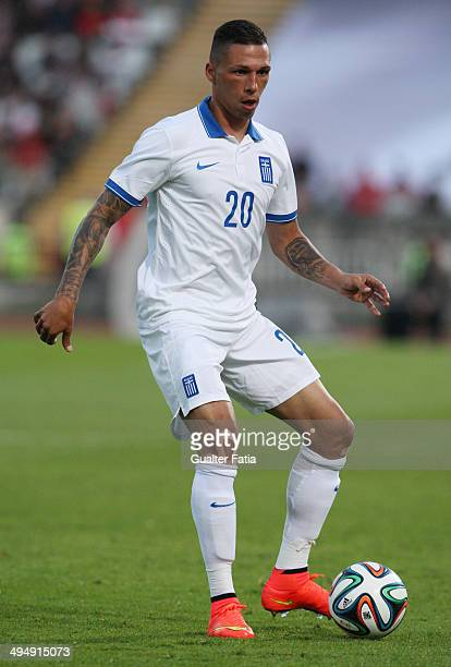 Jose Holebas of Greece in action during the International Friendly between Portugal and Greece National Stadium on May 31 2014 in Lisbon Portugal