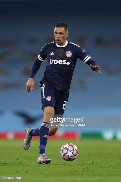 Jose Holebas of Olympiacos during the UEFA Champions League Group C stage match between Manchester City and Olympiacos FC at Etihad Stadium on...