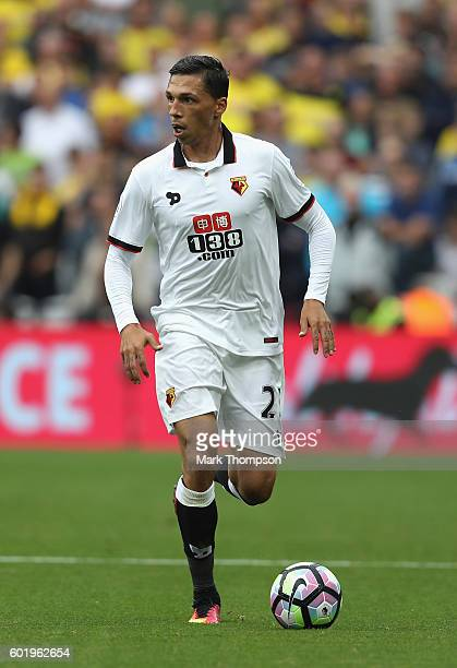 Jose Holebas of Waford in action during the Premier League match between West Ham United and Watford at the Olympic Stadium on September 10 2016 in...