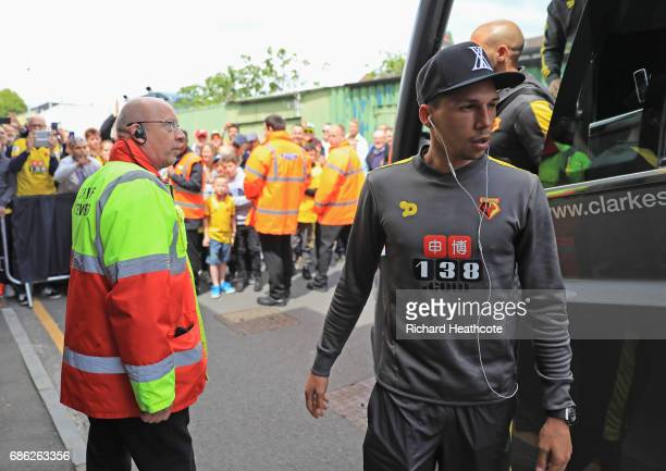 Jose Holebas of Watford arrives at the stadium prior to the Premier League match between Watford and Manchester City at Vicarage Road on May 21 2017...