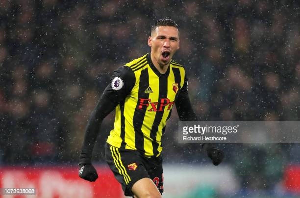 Jose Holebas of Watford celebrates after scoring his team's second goal during the Premier League match between Watford FC and Cardiff City at...