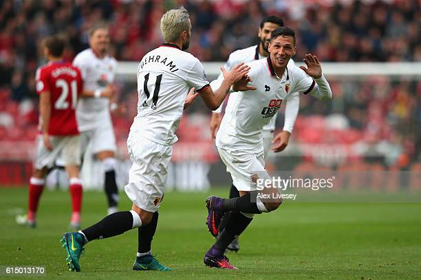 Jose Holebas of Watford celebrates scoring his sides first goal with Valon Behrami of Watford during the Premier League match between Middlesbrough...