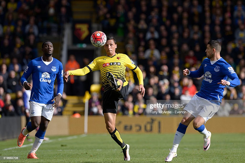 Jose Holebas of Watford controls the ball during the Barclays Premier League match between Watford and Everton at Vicarage Road on April 9, 2016 in Watford, England.