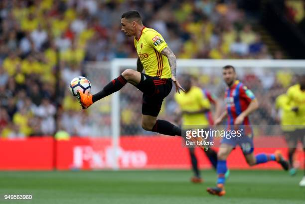 Jose Holebas of Watford controls the ball during the Premier League match between Watford and Crystal Palace at Vicarage Road on April 21 2018 in...