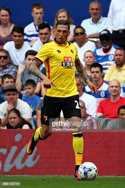 Jose Holebas of Watford during the pre season friendly match between Queens Park Rangers and Watford at Loftus Road on July 30 2016 in London England
